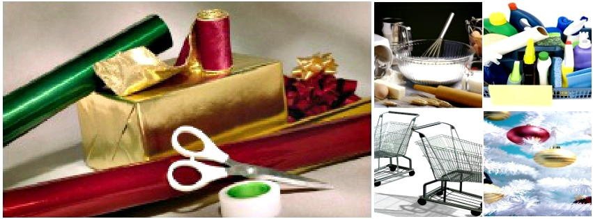 wrapping, baking, shopping, cleaning, decorating