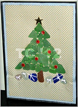 Sea glass Christmas Tree, Picture Frame Art