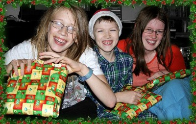 Here are my three children on Christmas morning.