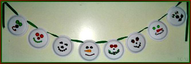 Paper Plate Snowman Garland